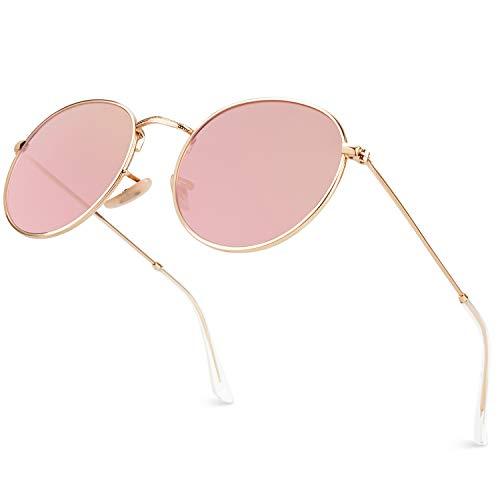 GQUEEN Espejo Redondo Vintage gafas de sol polarizadas con protección UV400 MFP7