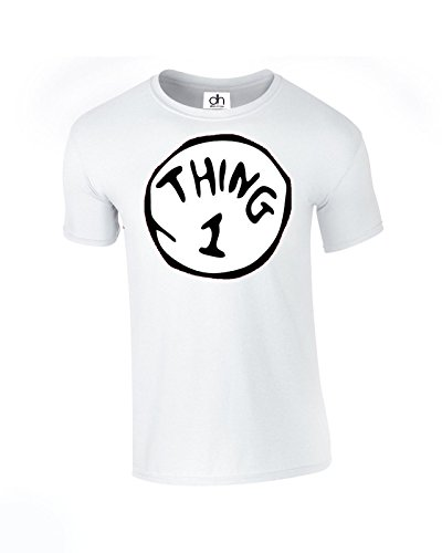 Thing One 1 and Thing Two 2 Camiseta para parejas a juego divertido disfraz de gato gemelos Top Unisex Fit T Shirt Day