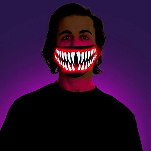 Morph Schreiende Leuchtende Reaper Dämon Halloween Karneval LED- Halbmaske für Erwachsene