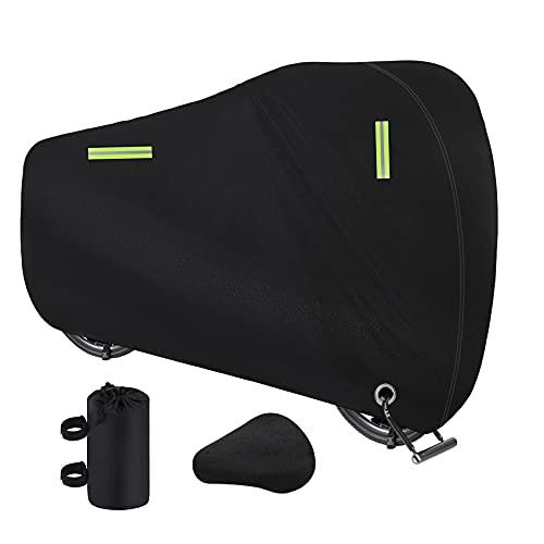 Dokon Bike Cover, Waterproof, Windproof, Anti-UV 420D Oxford Fabric Bicycle Cover with Lock Holes, Outside Storage for Mountain Road Bike, Bonus Bike Seat Cover, 200 x 70 x 110cm (Black)