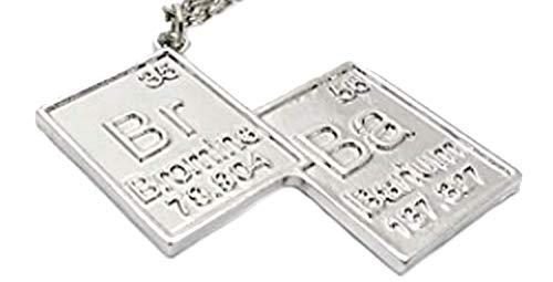EVRYLON Herren Halskette Br Ba Chemikalie Chemikalie Symbole Film Fernsehserie Silber Farbe Breaking Bad