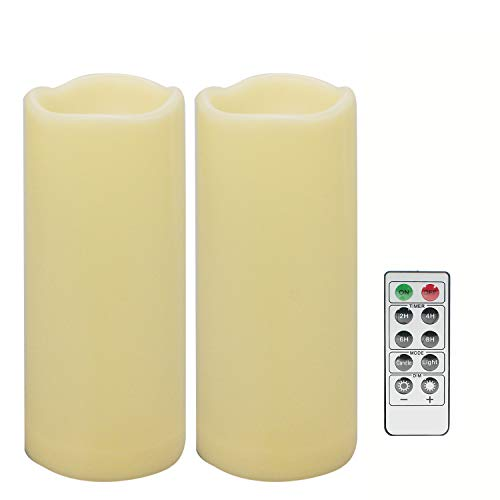 2 PCS 3' x7' Waterproof Outdoor Battery Operated Flameless LED Pillar Remote Candles Flickering Plastic Resin Electric Decorative Light for Lantern Patio Garden Home Decor Party Wedding Decoration