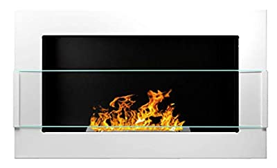 Bio Ethanol Fire BioFire Fireplace Modern 650 x 400 White with glass