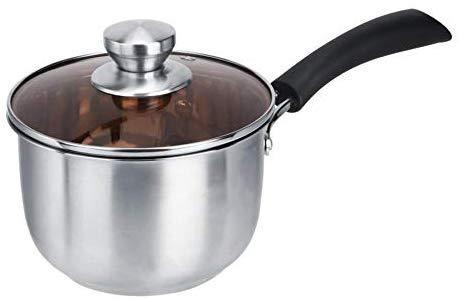 Keukenpan van roestvrij staal, warmte-isolatie, greep voor soeppan met glazen deksel, brood, inductiefornuis, kookpan, 16 cm