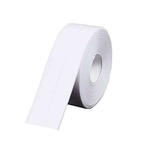 Caulk Tape Strip, Waterproof Self Adhesive Caulking Tape Anti-Mildew, PVC Adhesive Caulk for Kitchen Bathtub Shower Toilet, 1.5 inch x 10.5 ft (White)