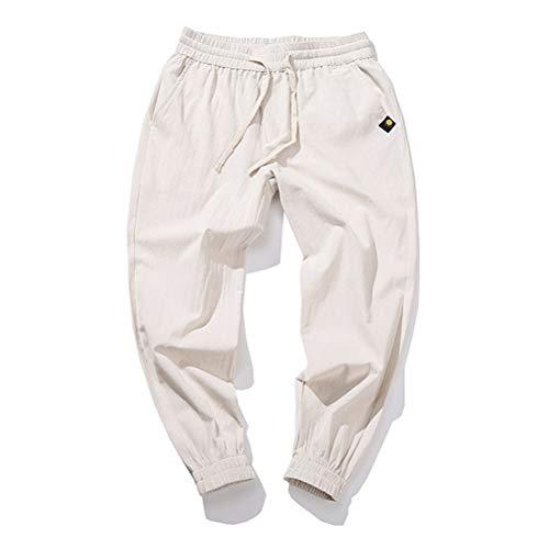 Feidaeu Salopette pour Hommes Cordons Taille élastique Pieds élastiques Anti-Rides Pantalon à Neuf Points