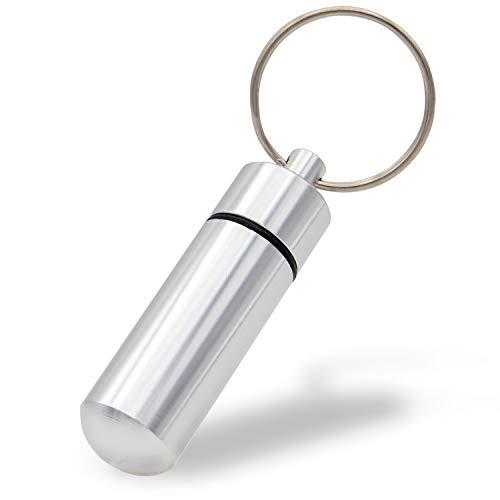 Aribari Pastillero de Aluminio Mini con Llavero. Caja de...
