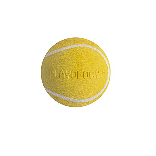 """Playology Squeaky Chew Ball, a Health-Enhancing Chicken Scented Chewable Dog Toy That Inspires Exercising Play, 1.75"""" Wide Small, in Yellow for Canines up to 10 lb."""