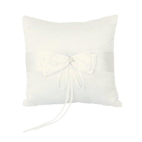 10 x 10 cm Elfenbein Satin Kunstliche Perle Blume Hochzeit Party Tasche Ring Kissen Kissen
