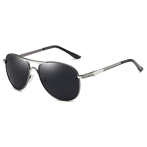 QSLS 1 pc Gafas de Sol polarizadas de conducción Clásico Piloto de Aviación Marco Conductor Gafas HD antideslumbrante Gafas de Sol Hombre UV400 Gafas (Color : Silver)