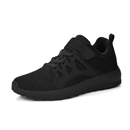 MARSVOVO Boys' Sneakers Boys' Athletic Shoes Tennis Lace-up Zapatos para Niñas Size 13 Shoes for Boys Girls Basketball Cool Shoes Boys Running Kids Golf Wrestling Slip on Sneakers Black Shoes