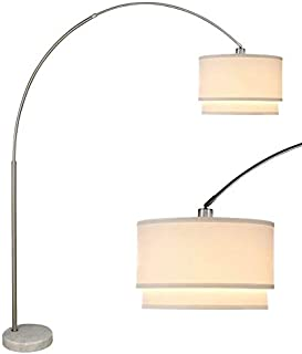 SH Lighting 6938 Brush Steel Arching Floor Lamp with Marble Base - Features Large Drum Style Shade - 81