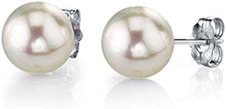 THE PEARL SOURCE 14K Gold AAA Quality Round White Cultured Akoya Stud Pearl Earrings for Women (white-gold, 7.0-7.5mm)