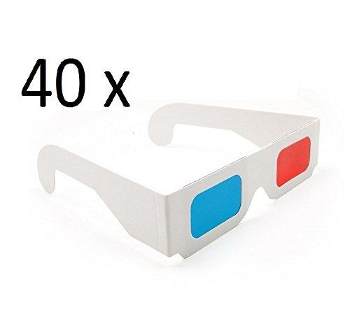 Darlinton & Sohns 40 stuks 3D-brillen doos eenvoudige 3D-bril grote verpakking rood blauw cyaan anaglyphen brillen 3D glas