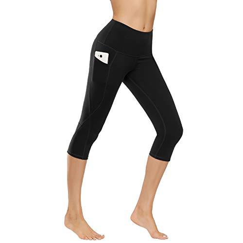 IceUnicorn Damen Leggings Lange Yogahose Sporthose Fitnesshose Laufhose 3/4 Training Tights mit Handytasche(3/4.Schwarz, M)