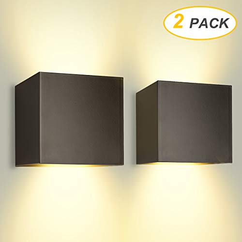LED Wandleuchte Außenwandleuchte 12W Wandlampe mit Einstellbar Abstrahlwinkel, Warmweiß 3000K Aluminium Wandbeleuchtung IP65 Wasserdicht (2 Stücke)