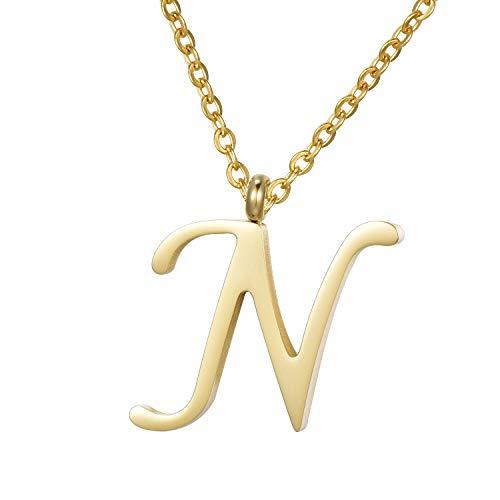 Morella Damen Halskette mit Buchstabe N Anhänger Edelstahl Gold in Schmuckbeutel