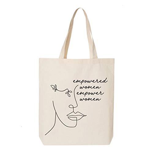 Bolso de mano Empowered Mujeres Empower, bolsa de comestibles, bolsa feminista, regalo para ella, chica Power, feminista, bolsa inspiradora, dibujo de una línea, bolsa de compras de arte para mujer