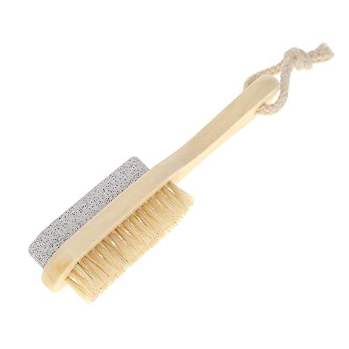 Brosse ponce avec manche en bois pour les pieds - Crème décontaminante exfoliante - Outil de massage et pédicure
