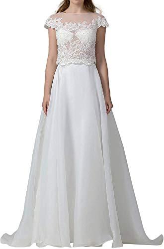 HUINI Brautkleider Spitzen Lang Hochzeitskleid Zweiteiler Standesamt Brautmode Prinzessin Strand Brautkleid Elfenbein 50