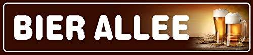 FS straatbord Bier Allee bruin metalen bord bord gebogen metaal sign 10 x 46 cm
