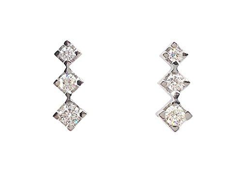 Orecchini donna oro bianco 18 kt Trilogy diamanti ct.0,28