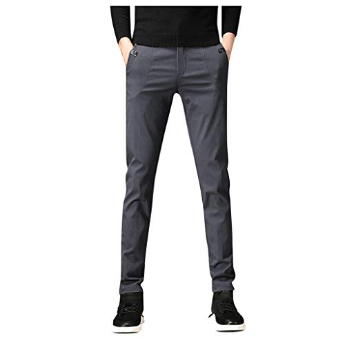 Stretch Dress Pants for Mens Waist Classic-Fit Flat-Front Comfort Skinny Suit Pants (28, Gray)