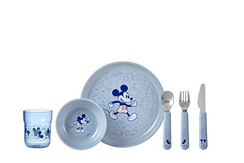 Mepal – Kindergeschirrset Mio – Mickey mouse – 6-teilig, mit Kinderteller, Schälchen, Becher und Besteck-Set – Ideales Kindergeschenk - Spülmaschinengeeignet