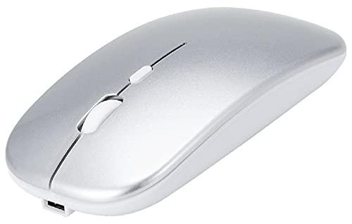 Raton Inalámbrico Bluetooth, iAmotus Ratón Bluetooth Recargable Delgado Silencioso de Modo Dual (2.4G Wireless o BT5.0), Mouse Ergonómico Ajustable de 3 dpi para Windows/ Linux/ Vista/ PC/ Mac