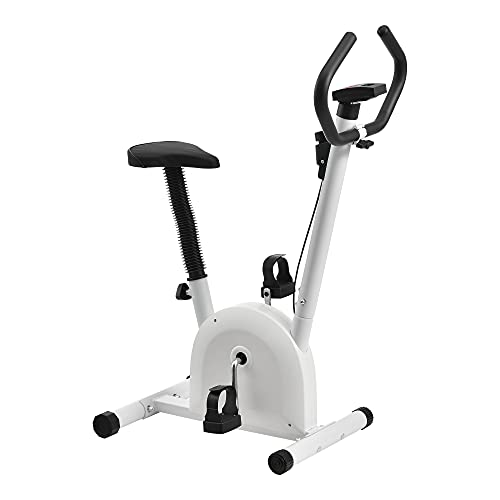 Cyclette da Allenamento - Fitness Bike per casa con LCD Display - Bianco - Peso Massimo 100kg