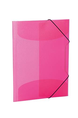 HERMA 19517 Sammelmappe DIN A3 Transluzent Pink aus stabilem Kunststoff, abwaschbar und strapazierfähig, mit 3 Innenklappen, Gummizugmappe, Eckspanner-Mappe, 1 Zeichenmappe für Kinder