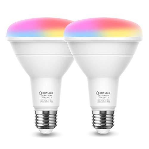 LOHAS Smart Light Bulb, BR30 LED Color Changing Bulbs, RGB Daylight Warm White 2700K-6000K Smart WiFi Lights, E26 LED Flood Light, 9W(65W Equivalent) 900LM Alexa Google Home Compatible Lights, 2 Pack