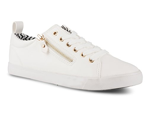 Twisted Women's Alley Faux Leather Fashion Sneaker with Decorative Zipper - ALLEY14 White, Size 6