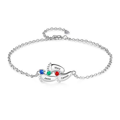 Albertband Pulsera para mujer Pulsera con piedras de nacimiento personalizadas con nombre y foto Joyas para el día de la madre Colgante de pie de bebé para madre y familia (#pies 3nombres)