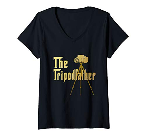 Womens Best Hilarious Photography Tripod Camera Funny Gift V-Neck T-Shirt