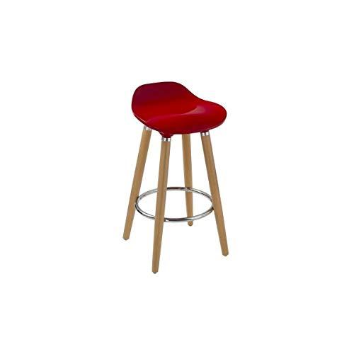 Tabouret de Bar Design, Pied bois, Rouge, 51cm x 51m x 80cm