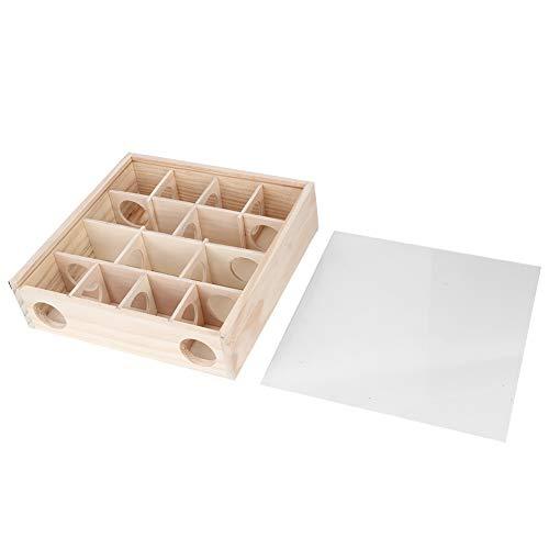 GAESHOW Hamster Labyrinth Maus Mäuse Naturholz Interaktives intelligentes Haustierspielzeug mit Acrylglas Hamsterspielzeug