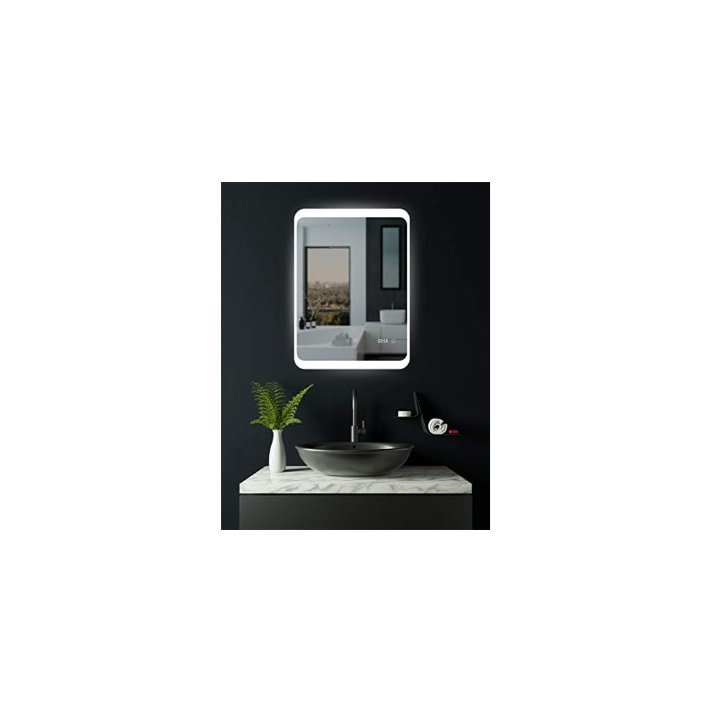 HOKO® Miroir 60 x 80cm de Salle de Bain à LED,avec Horloge numérique, Anti-buée, lumière Blanche Froide, éclairage LED…