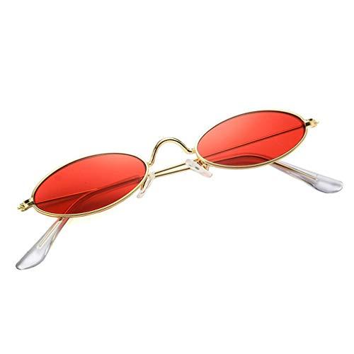 Gafas de Sol para Hombre, Mujer, Europeo y Americano, Gafas de Sol con Montura metálica (Oro Rojo)