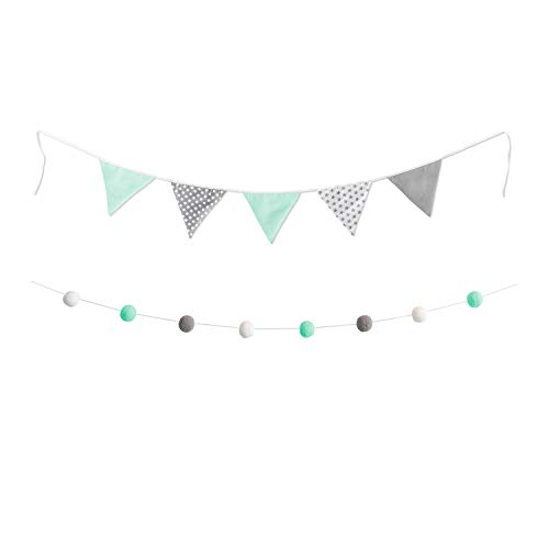 lilime® 1.9M Wimpelkette in Grau-Weiß-Mint Inkl. GRATIS Girlande ideal für Dekoration im Kinderzimmer - Unsere Wanddeko für dein Kind - Super süße Deko für jedes Babyzimmer