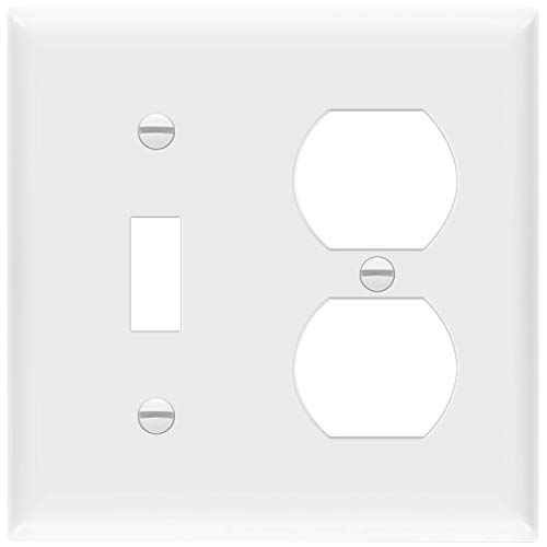 "ENERLITES Combination Toggle Light Switch/Duplex Receptacle Outlet Wall Plate Cover, Standard Size 2-Gang 4.50"" x 4.57"", Polycarbonate Thermoplastic, UL Listed, 881121-W, White"
