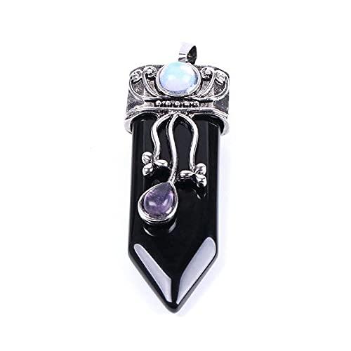 Collares con Colgantes De Piedra para Mujer,Piedras Ncklaces of Women Cool Obsidian Natural Semi-Precioso Colgante Espada Fewellery Yoga Reiki Chakra Piedra para Damas Mamá Novia