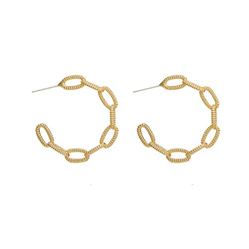 S925 silver needle European and American temperament earrings retro Hong Kong style personality exaggerated earrings golden circle earrings