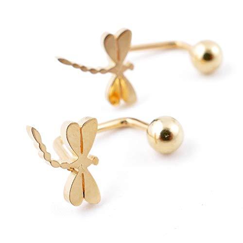 ARITZI - Pendientes tipo piercing acero inoxidable en color dorado - Libelula