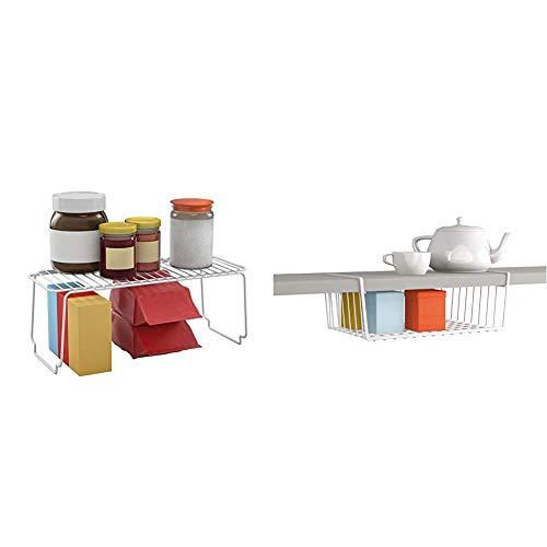 Metaltex Space Line Estante apilable de Cocina, 45x19x18 cm, Blanco + Estante intermedio, Blanco, 40 cm