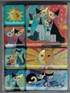 Fridolin Klarsichtbox Rosina Wachtmeister mit 7 Magneten, Metall, bunt, 9.5x7x2 cm