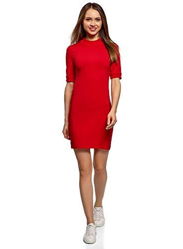 oodji Ultra Damen Kleid mit Stehkragen, Rot, DE 40 / EU 42 / L