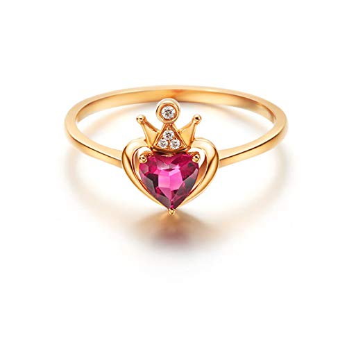 AMDXD Anillo de Oro Mujer 18K Puro, Anillo de Compromiso Mujer Corona Diseño con 0.322ct Corazón Rubí y 0.014ct Diamante, Oro Rosa, Tamaño 10 (Perímetro: 49mm)