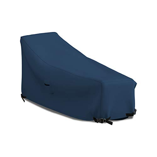 Patio Chaise Lounge Cover 12 Oz Waterproof - 100% UV & Weather Resistant 1000 D PVC Coated Outdoor Furniture Chaise Covers with Air Vents and Drawstring for Snug fit (86W x 36D x 32H, Blue)