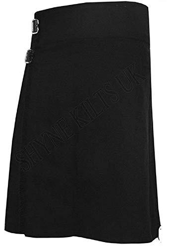 Kilt escocesa de tartán para hombre de 5 yardas, color negro liso, 13 oz Highland casual Kilt